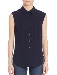 Frame Panel Sleeveless Blouse Navy