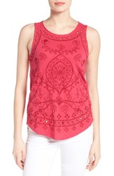 Lucky Brand Women's Eyelet Embroidered Cotton Tank Pink Multi