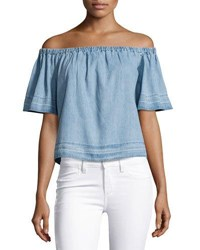 Ag Jeans Sylvia Off The Shoulder Chambray Top Blue