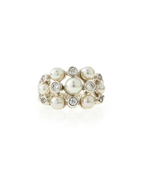 Majorica Pearl And Cz Cluster Ring