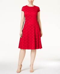 Alfani Plus Size Lace Fit And Flare Dress Only At Macy's Tropical Punch
