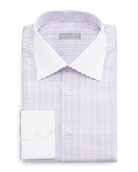 Stefano Ricci Contrast Collar Check Dress Shirt Lavender