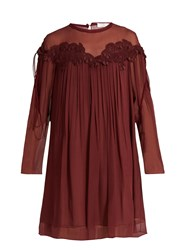 Chloe Lace Applique Brushed Silk Georgette Dress Burgundy