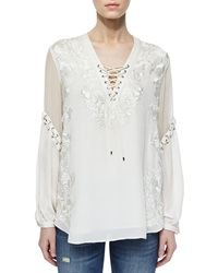 Haute Hippie Floral Embroidered Silk Peasant Blouse