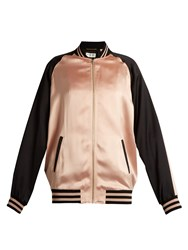 Saint Laurent Bi Colour Satin Bomber Jacket Pink