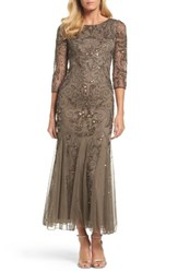 Pisarro Nights Petite Women's Embellished Mesh Gown Mocha