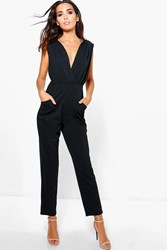Boohoo Deep Plunge Pleated Detail Jumpsuit Black