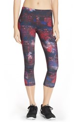 Women's Lija 'No Fear' Print Capri Leggings Red Black