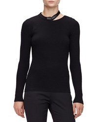 Tom Ford Long Sleeve Leather Neck Top Black