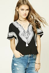 Forever 21 Embroidered Ornate Inspired Top