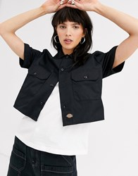 Dickies Cropped Shirt With Front Pockets And Logo Tab Black