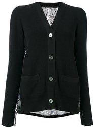 Sacai Crochet Print Eyelet Lace Back Cardigan Black