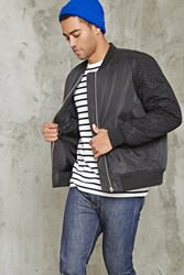 Forever 21 Mesh Paneled Bomber Jacket Black