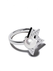 Tasaki 18Kt White Gold Comet Plus Diamond And Pearl Ring 60