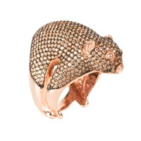 Latelita London Possum Ring Rosegold Champagne Zircon Rose Gold Pink Purple