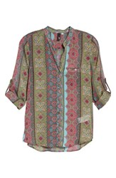 Kut From The Kloth Jasmine Top Olive Pink
