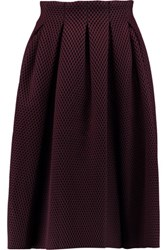 Maje Pleated Laser Cut Neoprene Skirt Burgundy