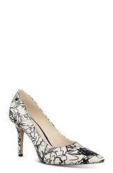 Women's Nine West 'Jackpot' Pointy Toe Pump Off White Black Patent