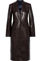 Theory Woman Cracked Leather Coat Dark Brown
