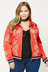Forever 21 Plus Size Track Jacket Red Gold
