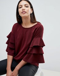 Ax Paris Jumper With Frill Sleeve Detail Red