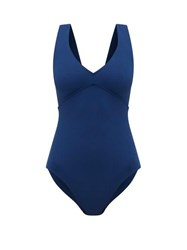 Eres Hold Up Backless V Neck One Piece Swimsuit Blue