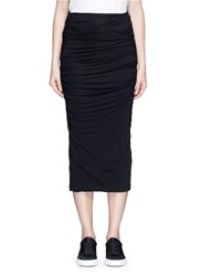 James Perse Shirred Cotton Jersey Tube Skirt Black