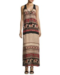 Band Of Gypsies Elephant Print Maxi Dress Black Pattern