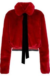 Ainea Cropped Metallic Trimmed Faux Fur Jacket Red