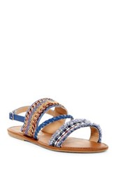 Nature Breeze Dolly Braided Ankle Strap Sandal Blue