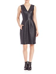 Bcbgmaxazria Livie Quilted Faux Leather Dress Black