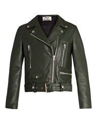 Acne Studios Mock Leather Biker Jacket Dark Green