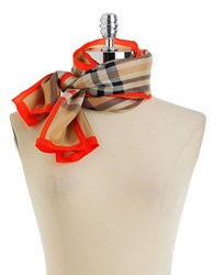Lord And Taylor Silk Plaid Scarf Coral