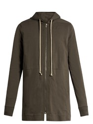 Rick Owens Hooded Zip Through Cotton Sweatshirt Grey