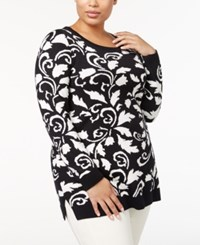 Charter Club Plus Size Printed Tunic Sweater Created For Macy's Deep Black Scroll Combo