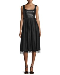 Red Valentino Sleeveless Leather And Point D'esprit Skirt Dress Black Women's Size 38 0
