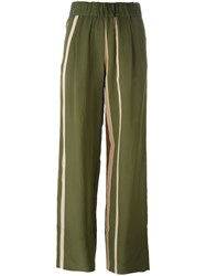 Roberto Collina Striped Trousers Green