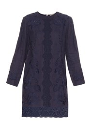 Vanessa Bruno Ete Embroidered Linen Dress Navy