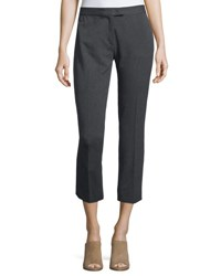 Joseph Herringbone Stretch Ankle Pants Dark Gray Dark Grey