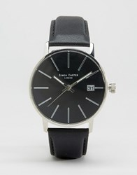 Simon Carter Black Leather Watch With Black Dial Black