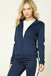 Forever 21 Contemporary Track Jacket Navy White