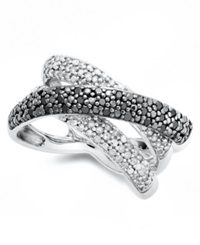 Macy's Sterling Silver Ring Black And White Diamond 1 2 Ct. T.W. Pave Cross Ring