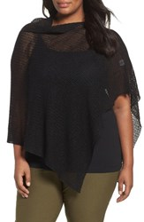 Eileen Fisher Plus Size Women's Organic Linen Mesh Knit Poncho Black