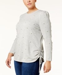 Inc International Concepts Plus Size Faux Pearl Studded Sweatshirt Created For Macy's Heather Grey