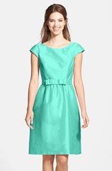 Women's Alfred Sung Bow Detail Satin Fit And Flare Dress Coastal
