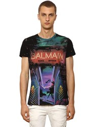 Balmain Destroyed Printed Cotton Jersey T Shirt Black Multi