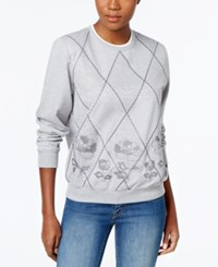 Alfred Dunner Quilted Embroidered Sweatshirt Silver