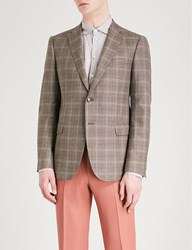 Emporio Armani Checked Modern Fit Wool Silk And Linen Blend Jacket Brown