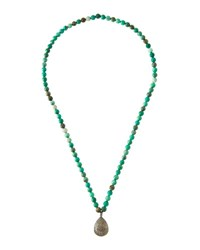Bavna Long Agate Beaded Necklace W Pave Diamond Pendant