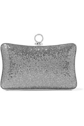 Halston Heritage Sequined And Glittered Leather Clutch Silver